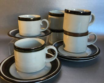 2 of 4 Vintage 60s Finland Arabia Karelia Pottery  Coffee Cups and Saucers
