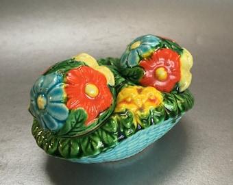 Pottery Flower Basket Salt and Pepper Shakers Vintage