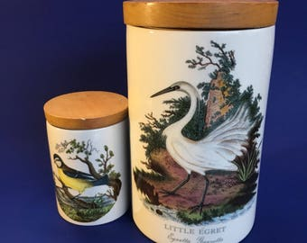 Portmeirion The Botanic Garden Pair of 1978 Kitchen Canisters Cookie Jars Pottery Porcelain England