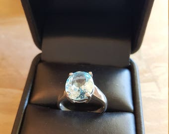 Sterling Silver Blue Stone Vintage Silver Ring Size 7 1/4