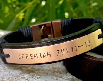 Personalized Copper Plate Leather Bracelet, Scripture Bracelet, Christian Bible Verse, Genuine Leather, Mens Jewelry, Jeremiah 29 11