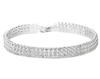 Faux Diamond 3 Row Crystal Rhinestone Bling Choker Necklace