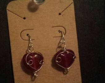 Red heart wire wrapped earrings