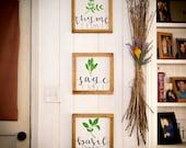 Fresh herbs signs Full set Farmhouse kitchen Kitchen wall decor Rustic kitchen decor Spring decor New for spring Pallet signs Framed signs