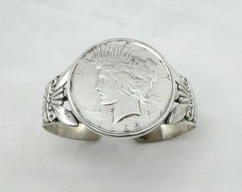 Give Peace A Chance...Vintage Southwest Native American Sterling Silver Peace Dollar Cuff Bracelet #PEACE-ELP1