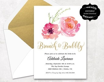 bridal shower template printable bridal shower invitation cheap diy template instant download - Cheap Wedding Shower Invitations