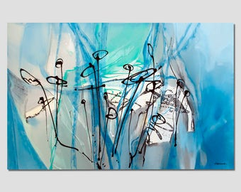 Abstract painting  Turquoise, blue, green, black white, modern original. Dimensions: 57.5 x 38 inches  (146 x 97 cm)