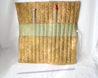 knitting organizer, knitting needle roll, knitting needle holder, needle storage,  beige, gold and green cotton fabric