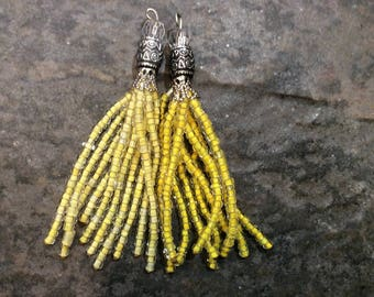 Yellow Beaded Tassel Charms with glass beads and silver filigree details beaded glass tassels