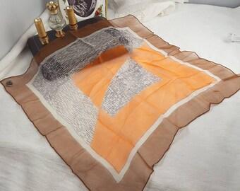 Art Deco Silk Chiffon Square Scarf with Original Hammura Label