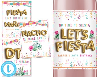 Fiesta Wine Labels, Fiesta Party Decor, Fiesta Bachelorette Party, 30th Birthday, Mexican Theme, Baby Bridal Shower Favor, Cinco de Mayo