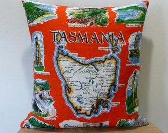 Tasmania Cushion Cover Australian Places Souvenir Themed Australiana Upcycled Tea Towel Cushion Housewarming Gift Hobart Map of Tassie