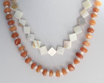Double Strand Mother of Pearl and Orange Aventurine Necklace