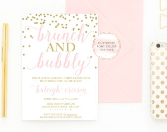 Bridal Shower Invitation, Bridal Shower Invite, Brunch Invitation, Bridal Shower Brunch, Brunch and Bubbly Bridal Shower Invitation [359]