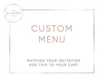 Custom Menu, Menu, Bridal Shower Menu, Engagement Party Menu, Baby Shower Menu, Printable, DIY, Digital, Printable Invitations
