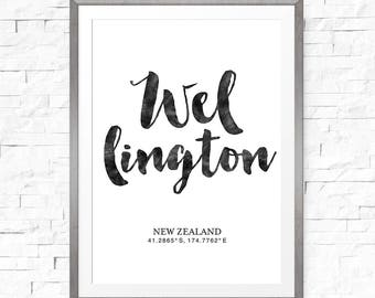 Coordinates print, New Zealand art, Printable art print, Wellington poster, Coordinate art, New Zealand prints, Wellington art