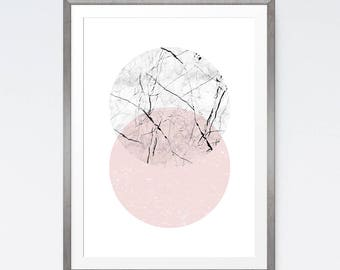 Circle Art Print, Marble Design, Pink Circle, Instant Download Print, Circles Wall Art, Scandinavian Poster, Pink Decor, Minimalist Wall Art