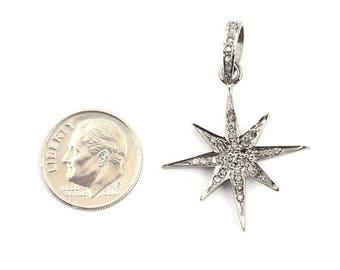 Mega sale 1 Piece Pave Diamond Star 925 Sterling Silver Pendant- Diamond Star Pendant 29mmx27mm pd618