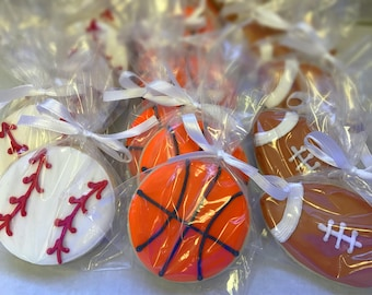 Sports Balls Themed Decorated Sugar Cookies
