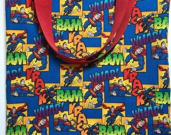 Superman Tote - Small Tote Bag - Trick or Treat Bag - Gift for Boys - Toy bag - Boy Tote Bag - Girl Tote Bag - Superhero Bag - Gift Bag