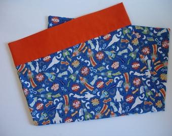 Travel Size Pillowcase - Rocket Ship Pillowcase - Space Theme Bedroom Decor - Custom Pillowcase - Toddler Pillowcase - Small Pillcase