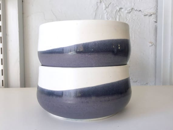 modern ceramic bowl -kitchenware- white and purple