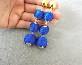 Cobalt Blue Clip-On Thread Ball Earrings
