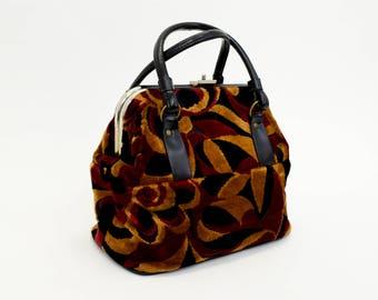 60s Upholstery Bag   Black & Fall Colors   Large Upholstery Handbag   Geometric Pattern