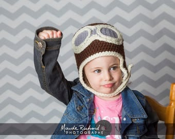 Crocheted pilot cap, knitted vintage aviator beanie, funny hat for kids teens and adults