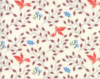 Moda BLOOMSBURY by Franny and Jane-floral hummingbirds natural-(47513 11)-by the YARD