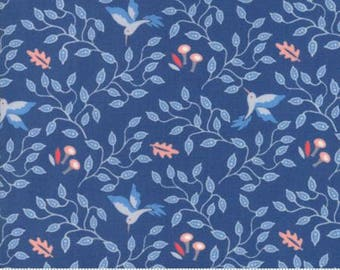 Moda BLOOMSBURY by Franny and Jane-floral hummingbirds medium blue-(47513 13)-by the YARD
