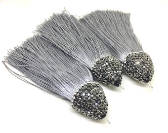 Gray Tassels, tassel earrings, Bejeweled Tassels, 3.25 Inch 85mm Tassel, gray jewelry, tassel necklace, gray necklace, silk tassel
