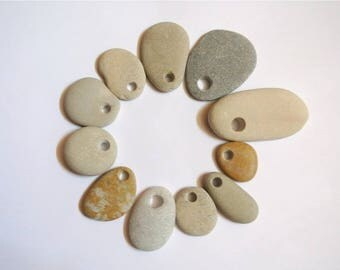 Drilled Pebbles, 11pcs, Beach Stones, Stones For Crafts, Stone Beads, Jewelry Supplies, Beach Finds, Pebble Beads