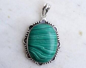 Malachite Pendant, Malachite Stone Pendant, Silver Pendant, Malachite Necklace Pendant, Malachite Locket, Green Pendant, Stone Pendant