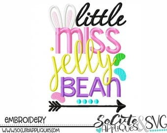 Easter embroidery design, Little Miss Jelly Bean Embroidery design, Easter Embroidery sayings, socuteappliques, Easter bunny applique