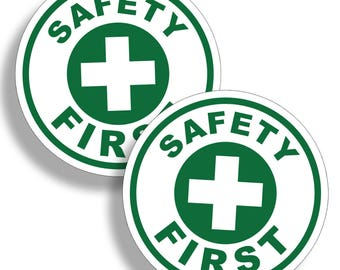 Safety First Sticker 1st Rescue Safe Decal Emergency Station Hard Hat OR Doctor Office Clinic Trainer Trained Area OSHA