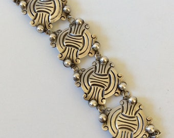 Hector Aguilar Design Early Mexican Sterling Silver Repoussé Bracelet
