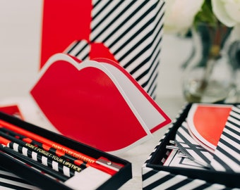 Love Notes Lulu Guinness boxed stationery set, Thank you notes shaped, Fashionista Stationery set, Chic Note cards set, British Designer