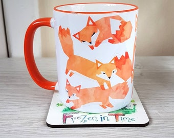 Watercolour Fox mug Coffee Mug Cute coffee mug Tribal decor Arrow Ceramic 11oz mug Mugs Animal Mug Gift for him or her