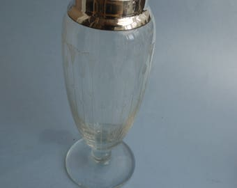 Vintage c1919 Henry Perkins & Sons, London etched glass vase with Sterling silver top ring
