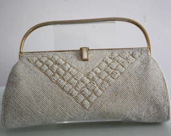 Vintage 1950s Beaded White Evening Bag