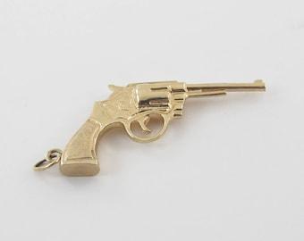 14k Yellow Gold Gun Charm Pendant - Gold Pistola Revolver 3D Gun