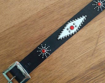 "Black leather studded western belt ""blue velvet"""