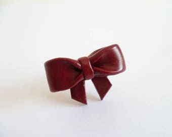 Romantic bow - big Burgundy bow tie with polymer clay ring