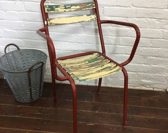 Vintage French Tolix Metal Bistro Cafe Garden Chairs