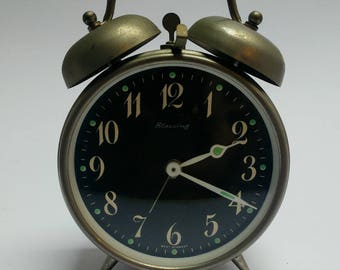 Vintage 80s Blessing double bell alarm clock West Germany