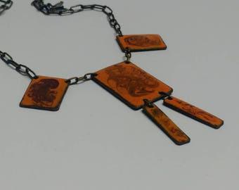 Vintage enamel necklace space age pendant