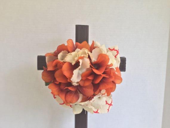 "Cemetery Cross, Grave flowers, Roadside Memorial, Grave Marker, Memorial Cross, Floral Memorial 18"" H"