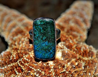 Chrysocolla Silver Ring - 925 Sterling Silver Ring - Chrysocolla ring size 6.5 - Silver Ring - Gemstone Ring