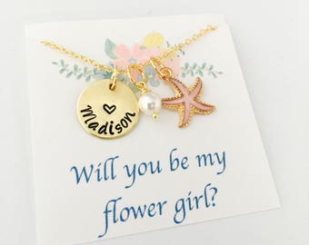 Beach Wedding, Beach Flower Girl Necklace, Flower Girl Gift, Stafish Necklace, Personalized Flower Girl Necklace